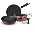 Non Stick Stainless Steel Cookware Set 3 piraso