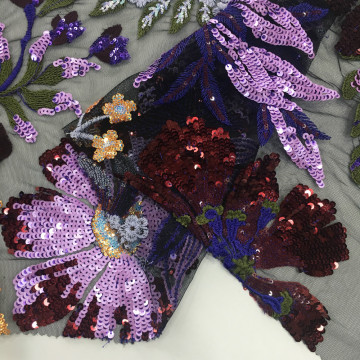 Elegant Matt Sequin Color Embroidery Fabric For Garment