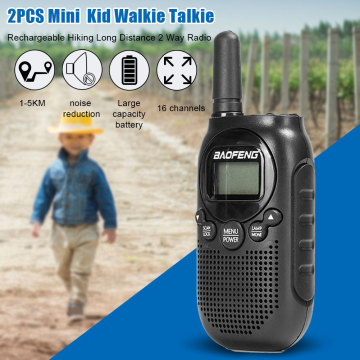 2pcs Camping Team Mini Rechargeable Kid Walkie Talkie Long Distance 2 Way Radio Noise Reduction 16 Channel Hiking Adventures