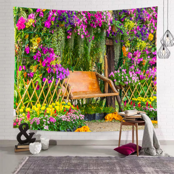 Flowers Bench Tapestry Wall Hanging Green Plants Park Garden Wall Tapestry for Livingroom Bedroom Dorm Home Decor