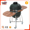 Kamado grill with stainless steel grill tables