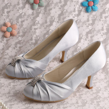 Silver Dress Shoes for Wedding Mid Heel