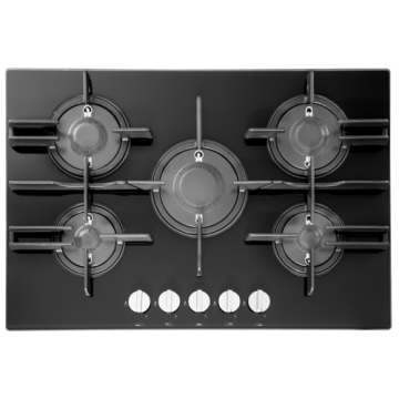 Hotpoint Hob Gas Black Glass 5バーナー