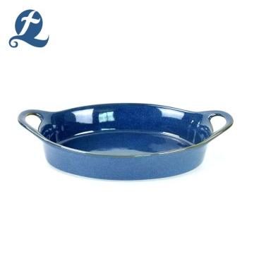 Hot sale coloured glaze ceramic bakeware set with double handle