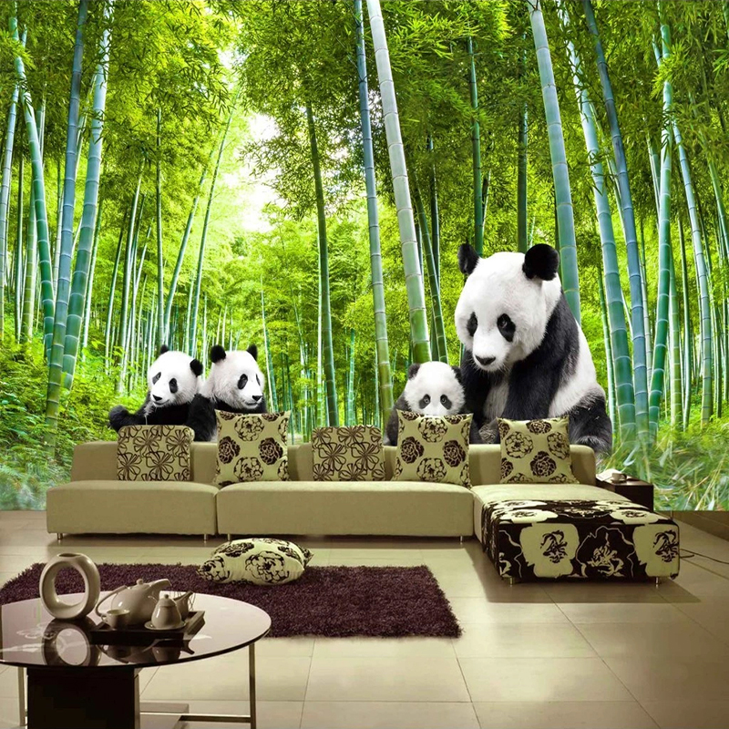 Custom 3D Photo Wallpaper Green Bamboo Forest Panda Poster Picture Wall Mural Living Room Sofa TV Background Decoration Painting