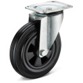 13 Series Black Rubber Flat Bottom Movable Casters