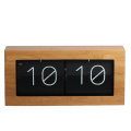 Large Bamboo Wood Flip Clock for Desk Wall
