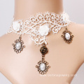 White Lace Collar Necklace With Pendant Gothic Chokers