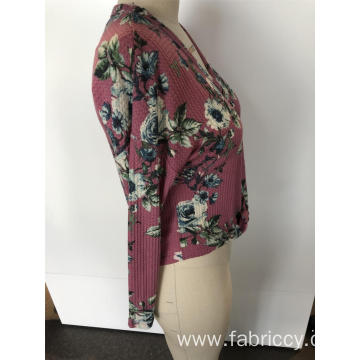 Floral round neck knit cardigan