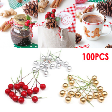 50/100Pcs Artificial Berry Vivid Red Holly Berry Berries Home Garland Simulation Plant Wedding Garden Decoration freeshipping