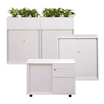 Metal tambour door cupboard with planter box