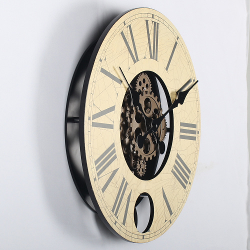 14 Inch Wooden Gears Hanging Clocks