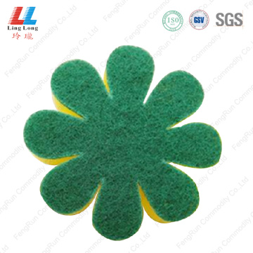 Flower sponge with scouring pad