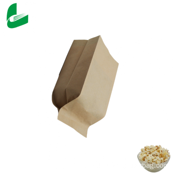 Brown kraft greaseproof paper microwave popcorn paper bag