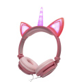 Cute light up led kids headband unicorn headphone