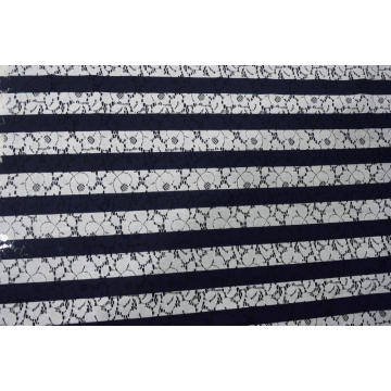 Nylon Cotton Stripe Printed Lace Fabric