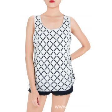 Black and White Checks Sequin Tank Tops