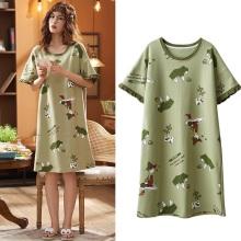 2021 Short-sleeved Women's Sleepwear Cotton Night Gowns Summer Cartoon Nightgowns Home Wear Girls Sleep Lounge Sleeping Dress