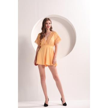 Yellow Crochet Lace Surplice Summer Romper