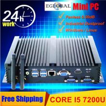 Eglobal Intel Core i5 5250U i5 7200U Industrial Fanless Mini PC Windows10 TV Box HD-MI 300M Wifi+Bluetooh 2*COM 1*Lan 1*HDMI