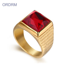 Mens 18K Gold Plated Rings With Red Stone