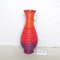 Round Multi-colored Rattan Flower Vase