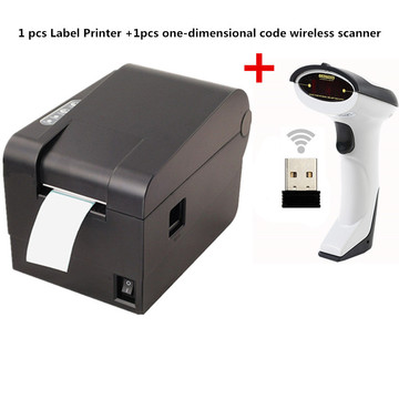 Gift 1pcs wireless scanner+ clothing tag 58mm Thermal barcode printer sticker printer Qr code the non-drying label printer