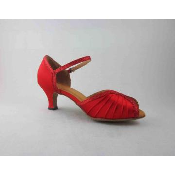 Red satin salsa shoes for ladies