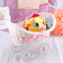 Cart Cane Tricycles Flower Basket Knitted Flower Mini Car Furnishing Articles for Wedding Baby Shower Party Birthday Decor