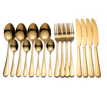 Tablewellware Golden Cutlery Fork Spoon Knife Set Golden Tableware Stainless Steel Cutlery Golden Fork Spoon Dinnerware Set