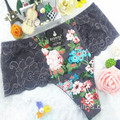 China wholesale new style printed floral dark purple sexy briefs lace spandex fancy thongs 6891
