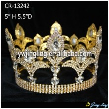 Full Round Gold Pageant Crowns Tiaras