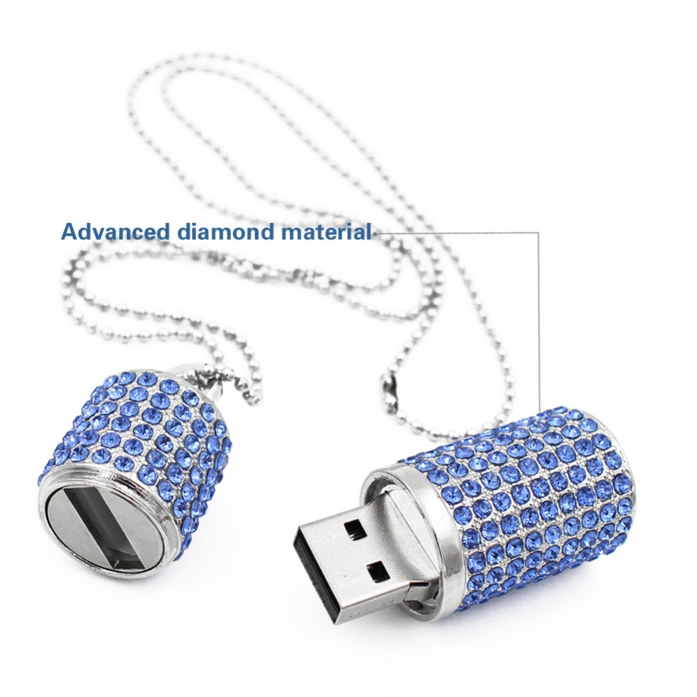 Lipstick Crystal Necklace Usb