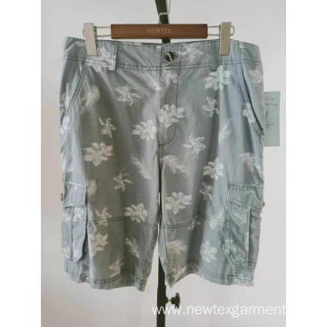 fashion printed cotton twill mens cargo shorts