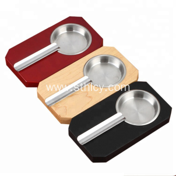Promotional Wood Base Stainless Steel Cigar Ashtray