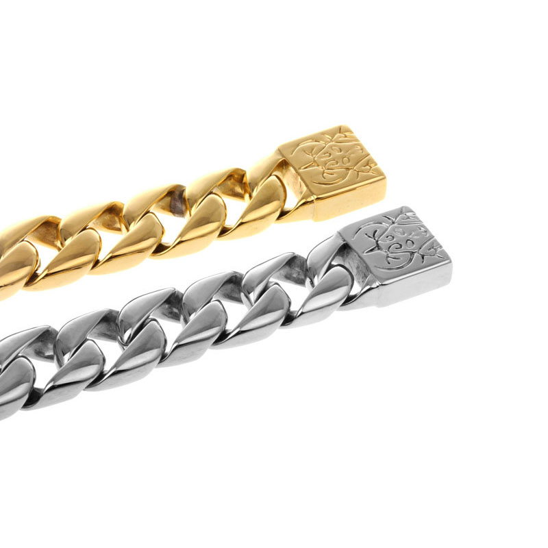 Mens Stainless Steel Gold Cuban Link Bracelet