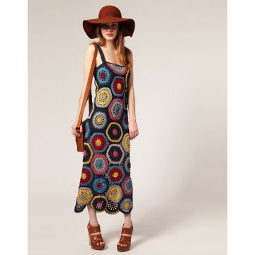 Wholesale Colorful Crochet Dress With Fabric