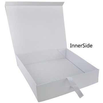Ribbon White Flat Folding Gift Paper Box
