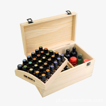 66 bottles Customized unfinished storage box wood essential oil box