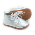 Hot Selling Real Leather Silver Baby Oxford Shoes
