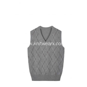 Boy's Knitted Diamond Front V-Neck School Vest