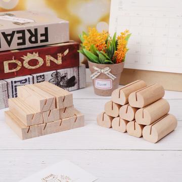 Desk Card Natural Wooden Notes Clips Photo Holder Clamps Stand Support Picture Frame Base Desktop Decor