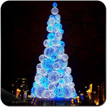 Led Sky biru bola putih metal Christmas Tree