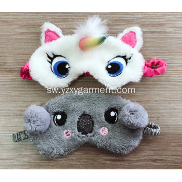 White nyati blindfold na embroidery