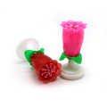 Pink rose flower norotating musical birthday candle