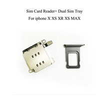 2pcs=1set For iPhone XR Dual SIM Card Reader flex cable +SIM Card tray Holder Slot Adapter Replacement