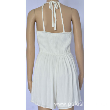 Women Belted Jumpsuit with White Color