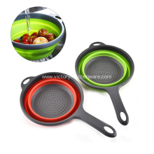 Soft rubber material foldable colander
