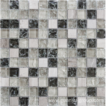 cracked glass and stone mosaic