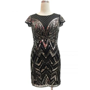 summer capsleeve embroidered sequin dress